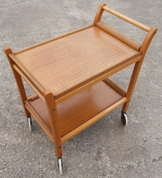 Tea Trolley Teak Retro 1960 S Two Tier Removable Trays Sold